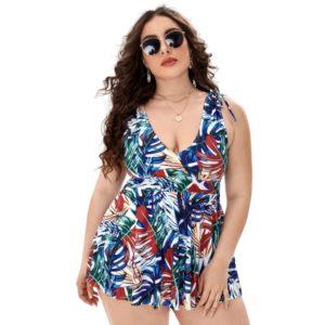 Tropical Print Plus Size Swimdress